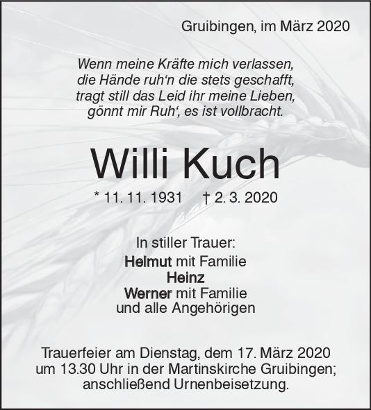 Trauer Willi Kuch <br><p style=