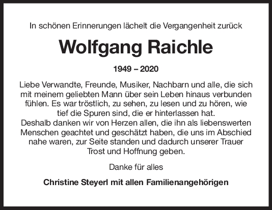 Danksagung Wolfgang Raichle <br><p style=