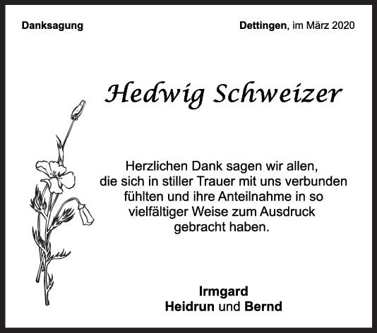 Danksagung Hedwig Schweizer <br><p style=