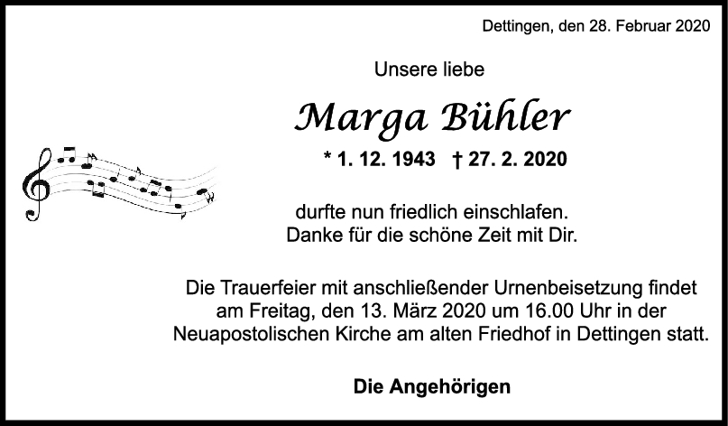 """Trauer Marga Bühler <br><p style=""""font-size: 10px; text-align: center;"""">07/03/2020</p>"""