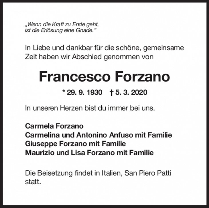"Trauer Francesco Forzano <br><p style=""font-size: 10px; text-align: center;"">06/03/2020</p>"
