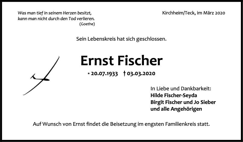 Trauer Ernst Fischer <br><p style=