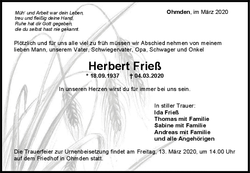 Trauer Herbert Frieß <br><p style=