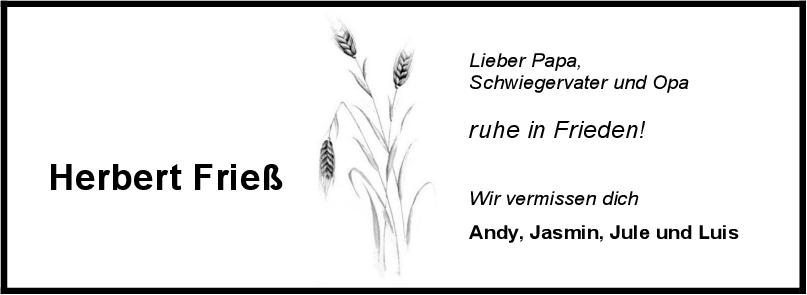 Nachruf Herbert Frieß <br><p style=