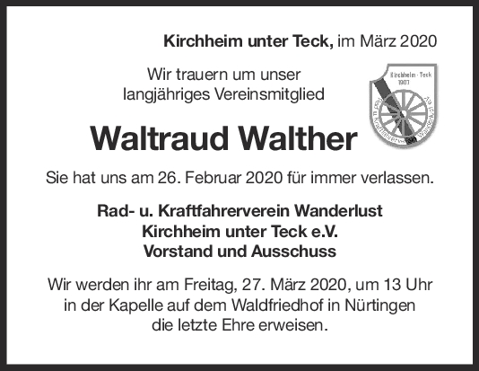 Nachruf Waltraud Walther <br><p style=