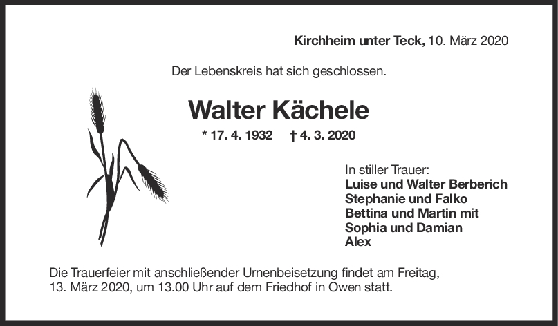 "Trauer Walter Kächele <br><p style=""font-size: 10px; text-align: center;"">10/03/2020</p>"