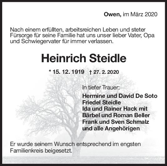 Trauer Heinrich Steidle <br><p style=