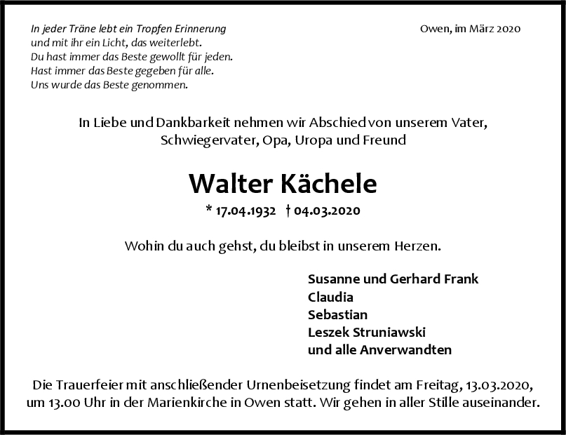 """Trauer Walter Kächele <br><p style=""""font-size: 10px; text-align: center;"""">10/03/2020</p>"""