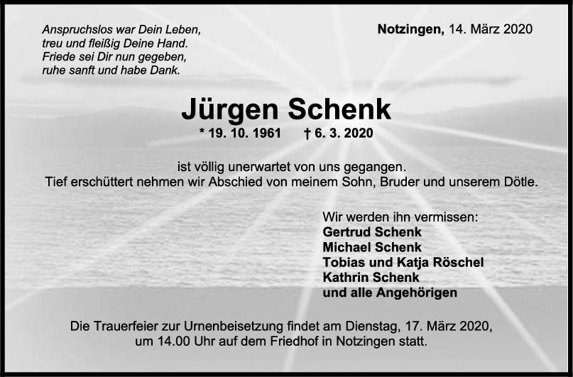 """Trauer Jürgen Schenk <br><p style=""""font-size: 10px; text-align: center;"""">14/03/2020</p>"""