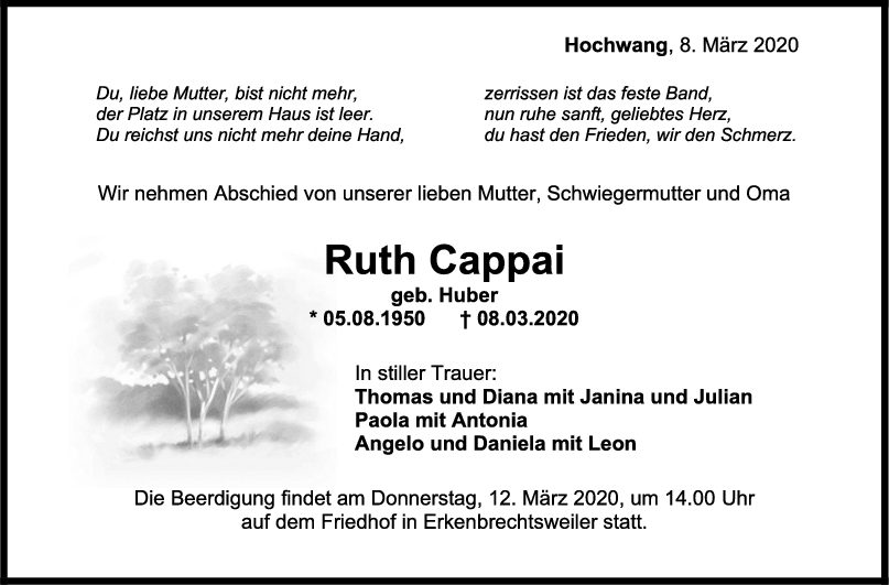 "Trauer Ruth Cappai <br><p style=""font-size: 10px; text-align: center;"">10/03/2020</p>"