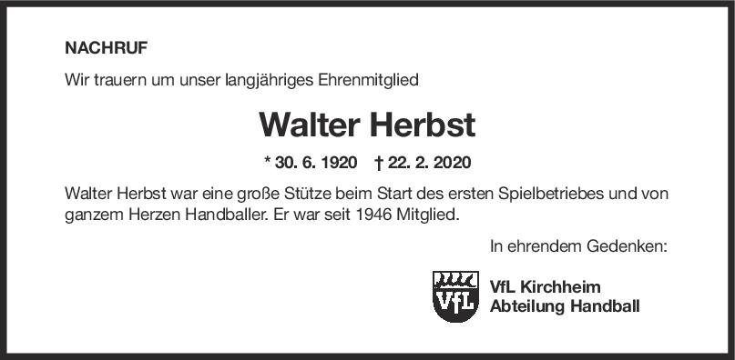 Nachruf Walter Herbst <br><p style=