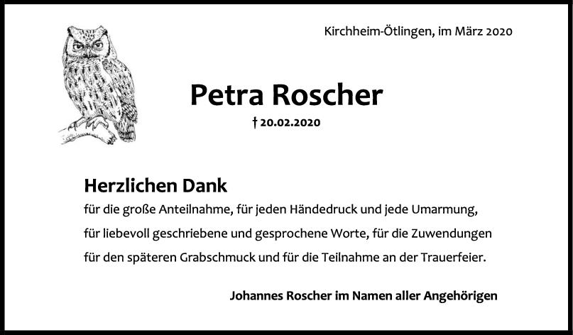 "Danksagung Petra Roscher <br><p style=""font-size: 10px; text-align: center;"">11/03/2020</p>"