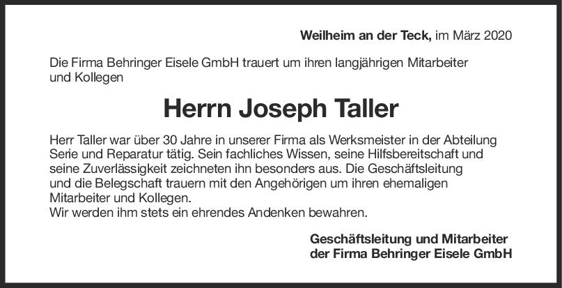 Nachruf Joseph Taller <br><p style=