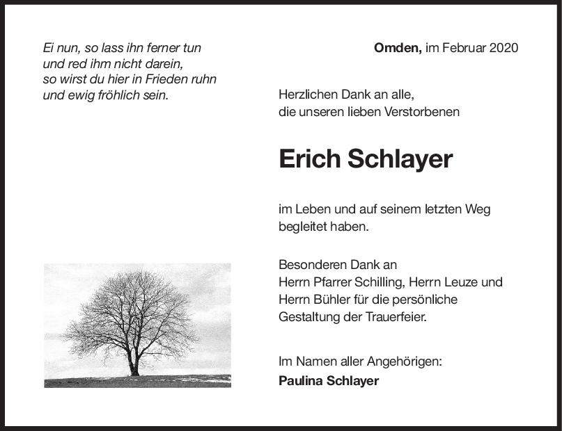Danksagung Erich Schlayer <br><p style=