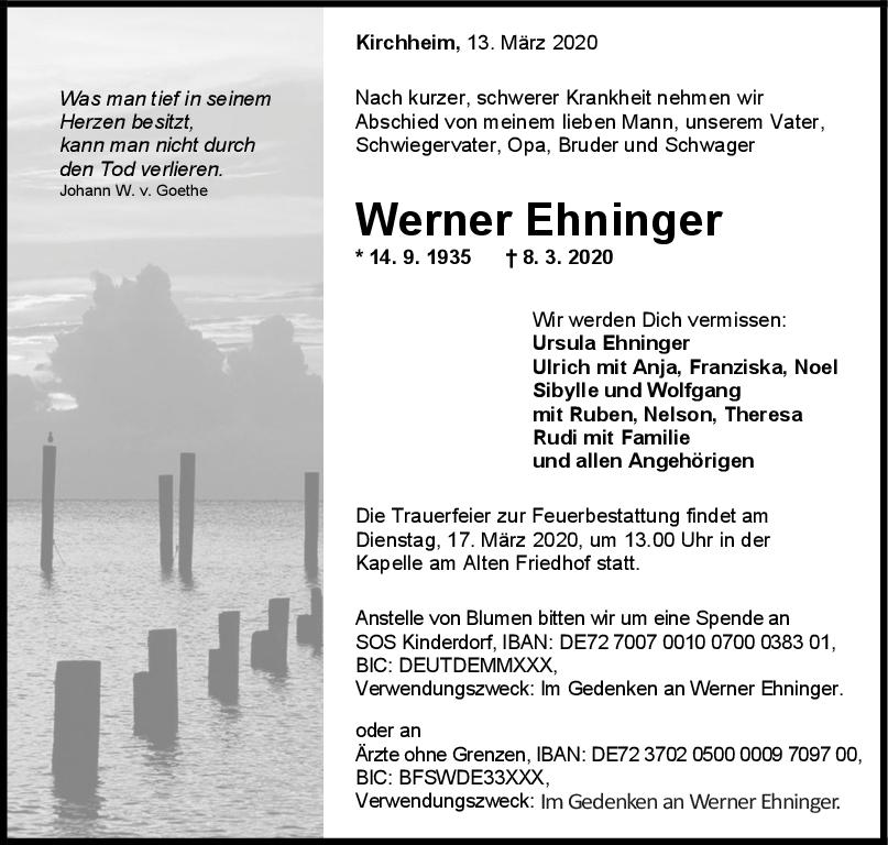 Trauer Werner Ehninger <br><p style=