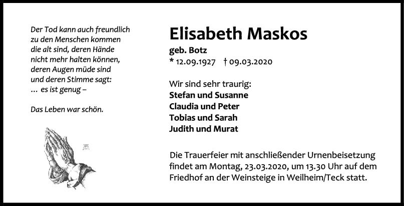 Trauer Elisabeth Maskos <br><p style=