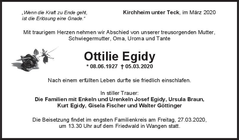 Trauer Ottilie Egidy <br><p style=