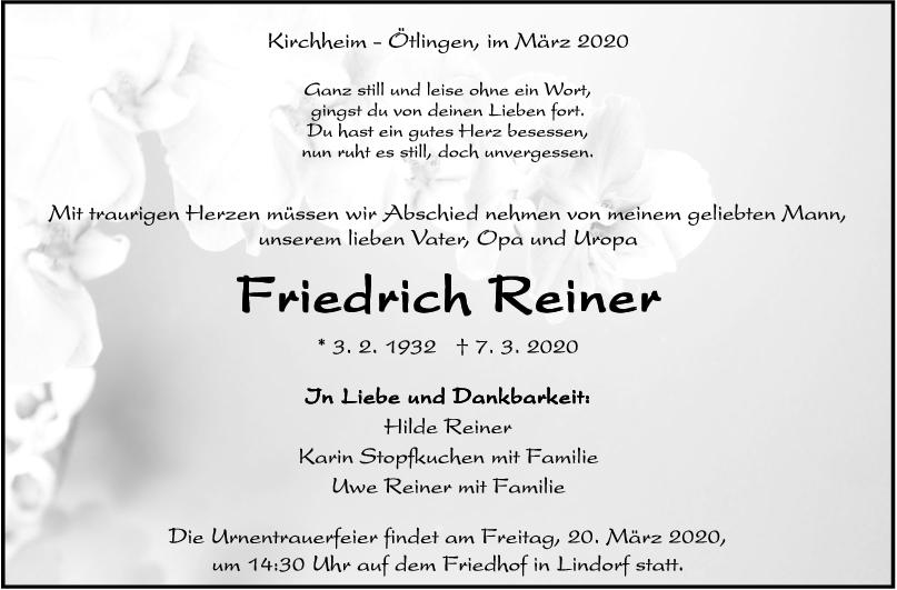 Trauer Friedrich Reiner <br><p style=