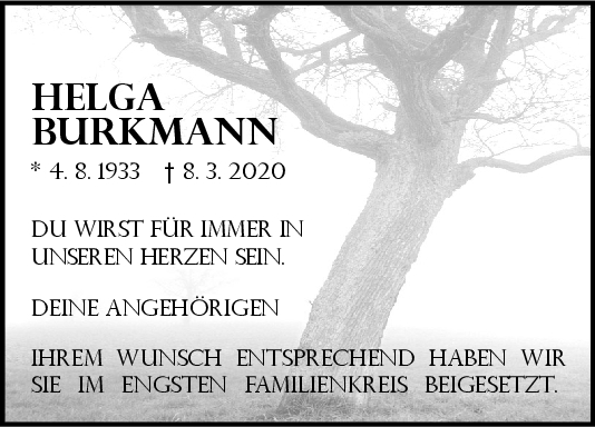 "Trauer Helga Burkmann <br><p style=""font-size: 10px; text-align: center;"">21/03/2020</p>"