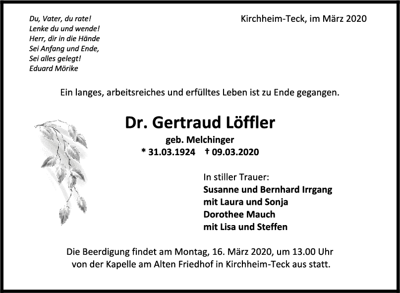"""Trauer Dr. Gertraud Löffler <br><p style=""""font-size: 10px; text-align: center;"""">12/03/2020</p>"""