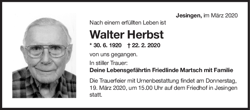 Trauer Walter Herbst <br><p style=