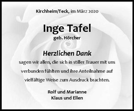 Danksagung Inge Tafel <br><p style=