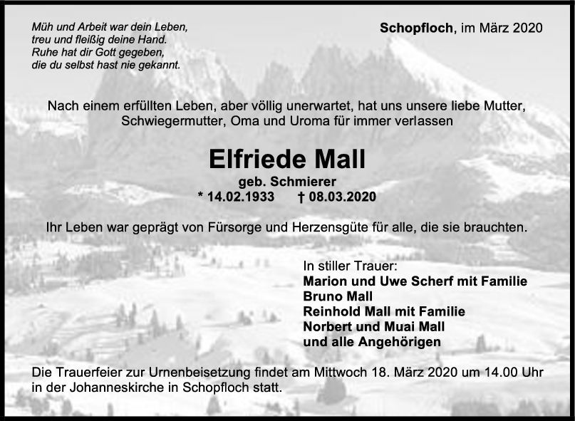 Trauer Elfriede Mall <br><p style=
