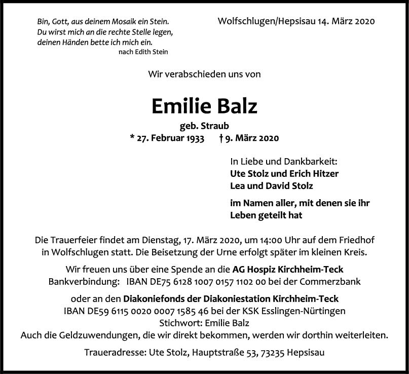 """Trauer Emilie Balz <br><p style=""""font-size: 10px; text-align: center;"""">14/03/2020</p>"""