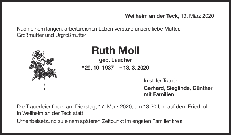 Trauer Ruth Moll <br><p style=