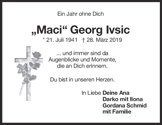 Nachruf Georg Ivsic <br><p style=