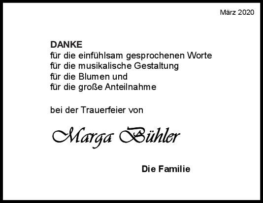 Danksagung Marga Bühler <br><p style=