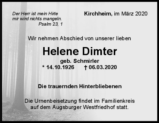 Trauer Helene Dimler <br><p style=