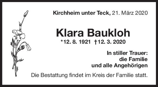 Trauer Klara Baukloh <br><p style=