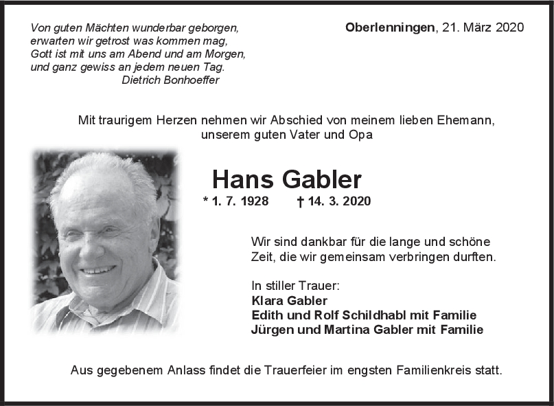 Trauer Hans Gabler <br><p style=