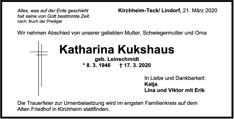 """Trauer Katharina Kukshaus <br><p style=""""font-size: 10px; text-align: center;"""">21/03/2020</p>"""