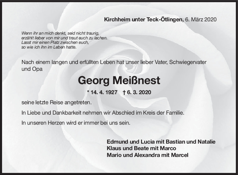 "Trauer Georg Meißnest <br><p style=""font-size: 10px; text-align: center;"">21/03/2020</p>"