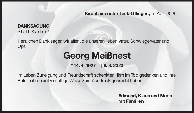 Danksagung Georg Meißnest <br><p style=