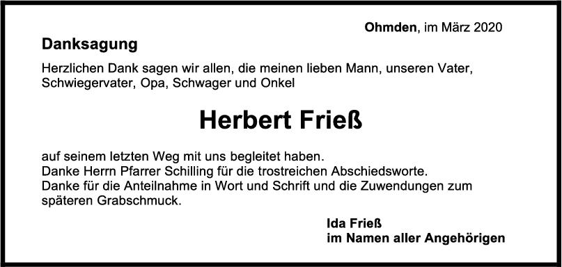 Danksagung Herbert Frieß <br><p style=