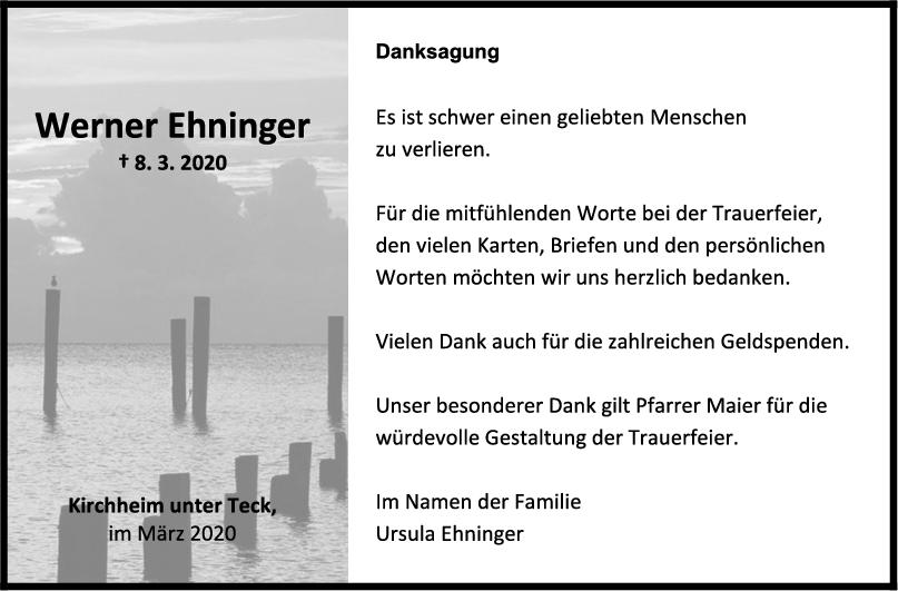 Danksagung Werner Ehninger <br><p style=