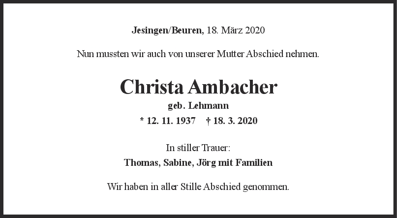 Trauer Christa Ambacher <br><p style=