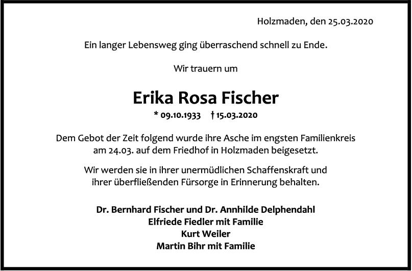 Danksagung Erika Rosa Fischer <br><p style=