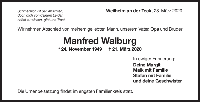 Trauer Manfred Walburg <br><p style=