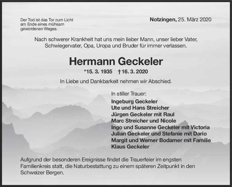 """Trauer Hermann Geckeler <br><p style=""""font-size: 10px; text-align: center;"""">25/03/2020</p>"""