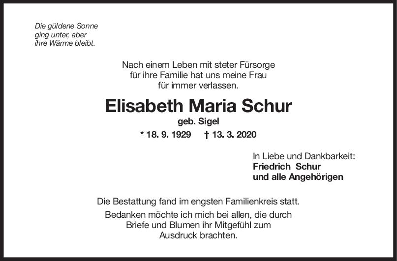 Trauer Elisabeth Maria Schur <br><p style=
