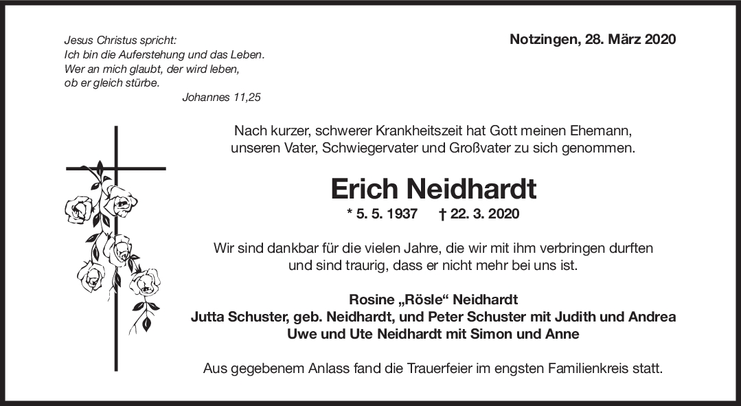 """Trauer Erich Neidhardt <br><p style=""""font-size: 10px; text-align: center;"""">28/03/2020</p>"""