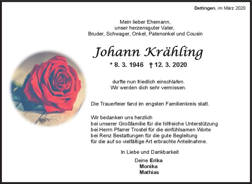 Trauer Johann Krähling <br><p style=