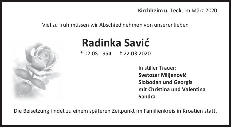 Trauer Radinka Savic <br><p style=