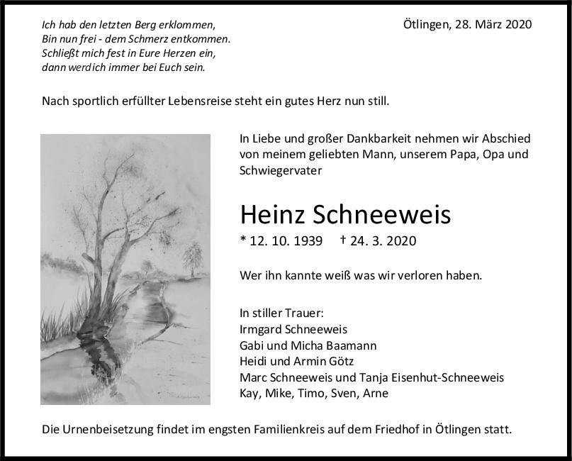 Trauer Heinz Schneeweis <br><p style=