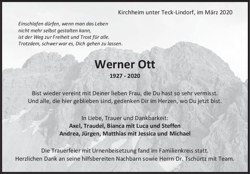 Trauer Werner Ott <br><p style=