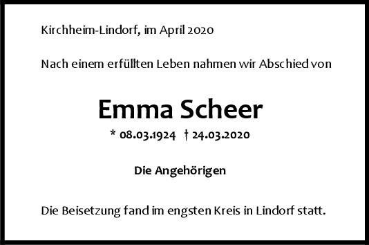 Trauer Emma Scheer <br><p style=